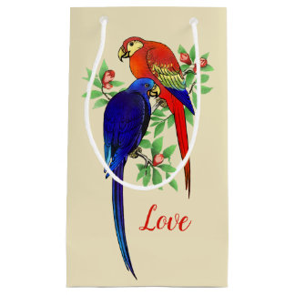 Cute Parrots In Love Red Blue Colorful Small Gift Bag