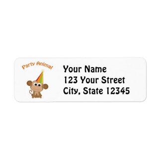 Cute Party Animal Monkey Return Address Label