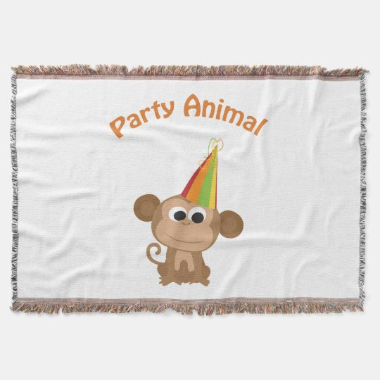 Cute Party Animal Monkey Throw Blanket