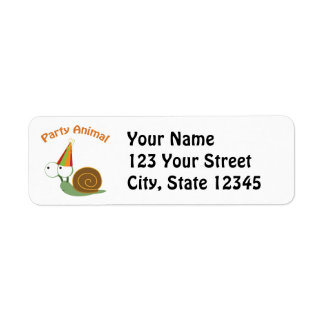 Cute Party Animal Snail Return Address Label