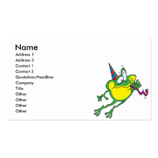 cute party frog cartoon business card