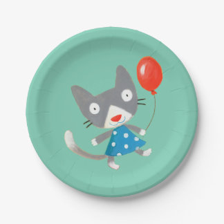 cute party kitty 7 inch paper plate