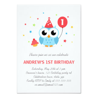 Cute party owl with balloon and cupcake birthday card