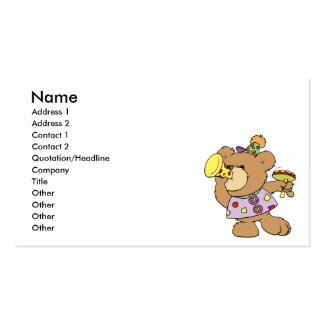 cute party teddy bear with noise makers business card