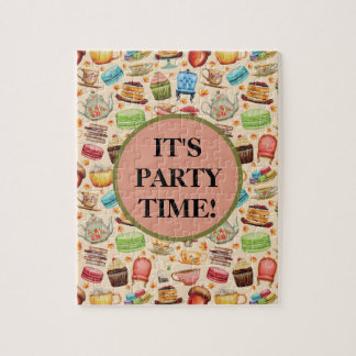 Cute Party Time Colorful Cupcakes and Teapots Jigsaw Puzzle
