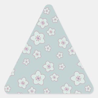 Cute Pastel Blue Cherry Blossom Pattern Triangle Sticker