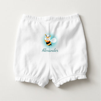 Cute Pastel Blue Green Sweet Bumble Bee Baby Boy Diaper Cover