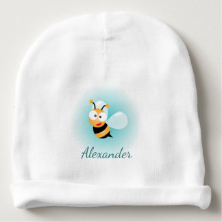 Cute Pastel Blue Green Sweet Bumble Bee Cartoon Baby Beanie