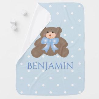 Cute Pastel Blue Ribbon Sweet Teddy Bear Baby Boy Baby Blankets