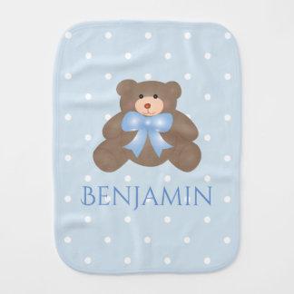 Cute Pastel Blue Ribbon Sweet Teddy Bear Baby Boy Burp Cloth