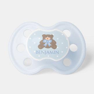 Cute Pastel Blue Ribbon Sweet Teddy Bear Baby Boy Pacifier