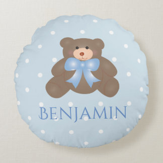 Cute Pastel Blue Ribbon Sweet Teddy Bear Baby Boy Round Pillow