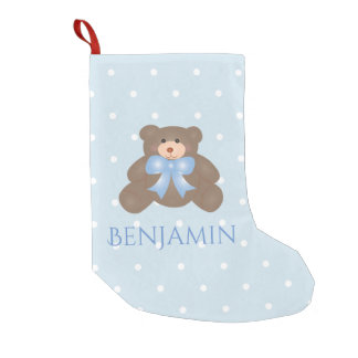 Cute Pastel Blue Ribbon Sweet Teddy Bear Baby Boy Small Christmas Stocking