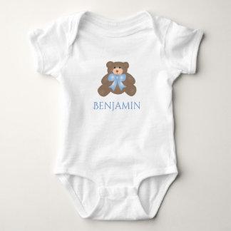 Cute Pastel Blue Ribbon Sweet Teddy Bear Boy Baby Bodysuit