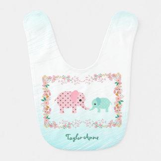 Cute Pastel Elephant Baby Bib