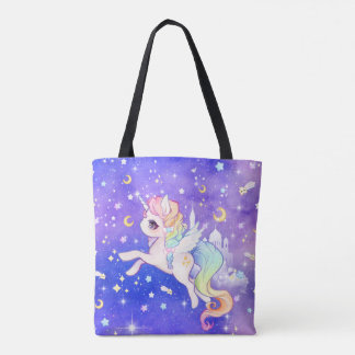Cute pastel galaxy unicorn tote bag