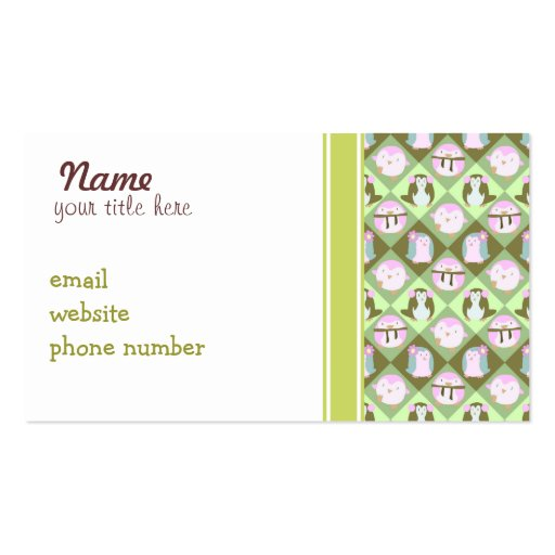 Cute Pastel Green Penguins Business Card