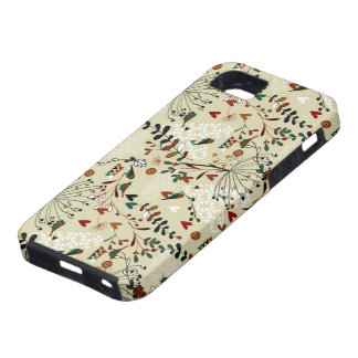 Cute Pastel Hand Drawn Retro Flowers & Birds iPhone 5 Covers
