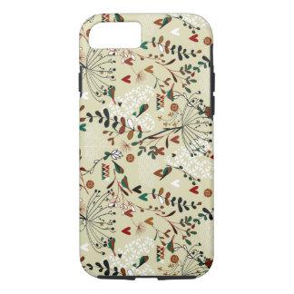 Cute Pastel Hand Drawn Retro Flowers & Birds iPhone 7 Case