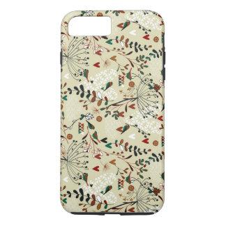 Cute Pastel Hand Drawn Retro Flowers & Birds iPhone 7 Plus Case