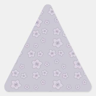 Cute Pastel Lavender Silver Cherry Blossom Pattern Triangle Stickers