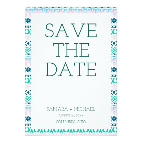 Cute pastel navaho art patterns save the date card