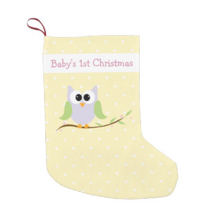 Cute Pastel Owl Baby's 1st Christmas Stocking
