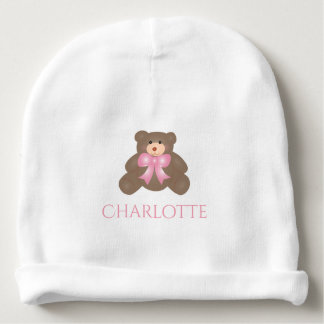 Cute Pastel Pink Ribbon Sweet Teddy Bear Baby Girl Baby Beanie