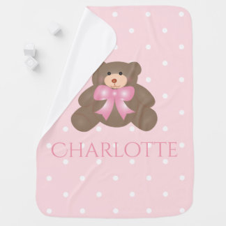 Cute Pastel Pink Ribbon Sweet Teddy Bear Baby Girl Baby Blanket