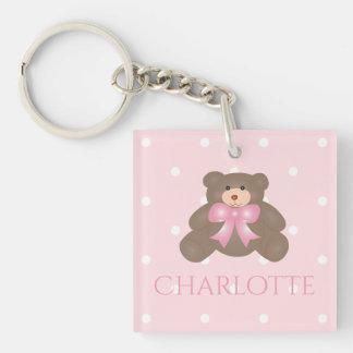 Cute Pastel Pink Ribbon Sweet Teddy Bear Baby Girl Keychain