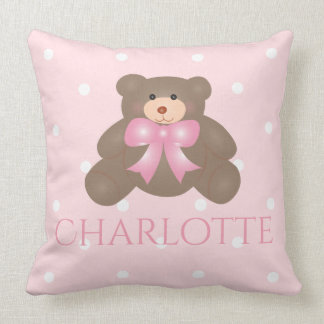Cute Pastel Pink Ribbon Sweet Teddy Bear Baby Girl Throw Pillow
