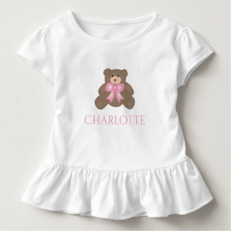 Cute Pastel Pink Ribbon Sweet Teddy Bear Baby Girl Toddler T-shirt
