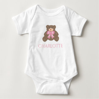 Cute Pastel Pink Ribbon Sweet Teddy Bear Girl Baby Bodysuit