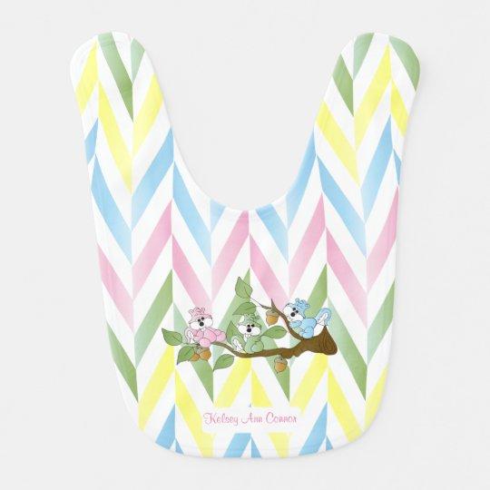 Cute Pastel Pink Squirrel Design Baby Bibs