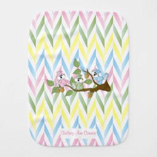 Cute Pastel Pink Squirrel Design Burp Cloths