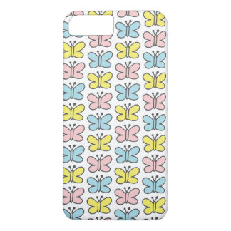 Cute Pastel Pink Yellow Blue Butterflies on White iPhone 7 Plus Case