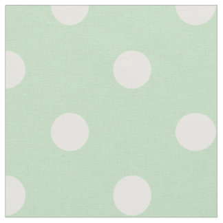 Cute Pastel Spring Green White Polka Dots Fabric 4