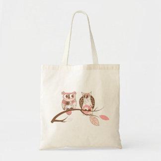 Cute Pastel Tones Pair of Owls Tote Bag