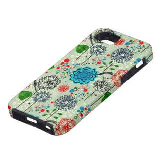 Cute Pastel Tones Retro Flowers & Birds Green Tint iPhone 5 Covers