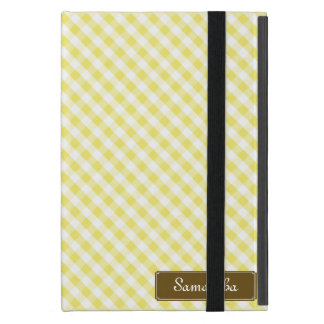 Cute Pastel Yellow Gingham Pattern iPad Mini Cover