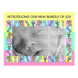 Cute Pastels Birth Announcement Photo Cards