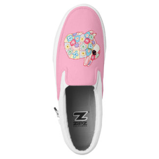 Cute Patchwork Flower Bunny Rabbit Monogram Name Slip-On Sneakers