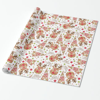 Cute Patchwork Merry Christmas Wrapping Paper