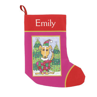 Cute Patchwork Puppy Dog Holiday Small Christmas Stocking