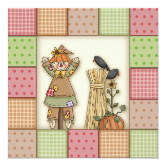 Cute patchwork & Scarecrow Thanksgiving Invitation