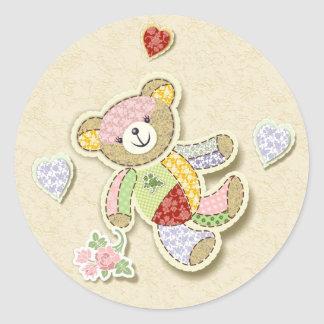 Cute Patchwork Teddy Classic Round Sticker