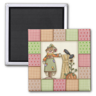 Cute Patchwork with Pumpkin. Crows & Scarecrow Fridge Magnets