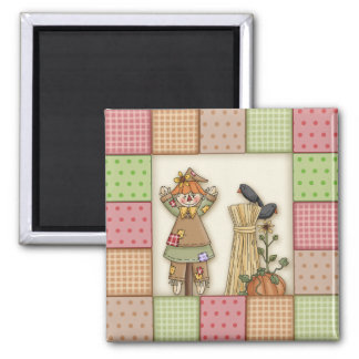 Cute Patchwork with Pumpkin. Crows & Scarecrow Magnets