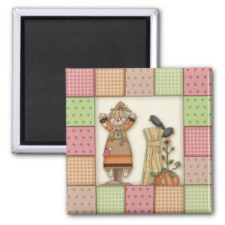 Cute Patchwork with Pumpkin. Crows & Scarecrow Refrigerator Magnet