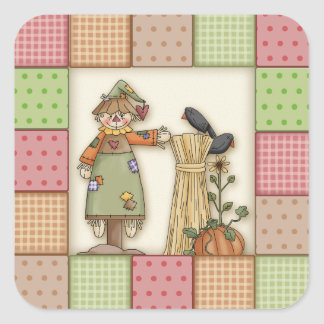 Cute Patchwork with Pumpkin. Crows & Scarecrow Square Sticker